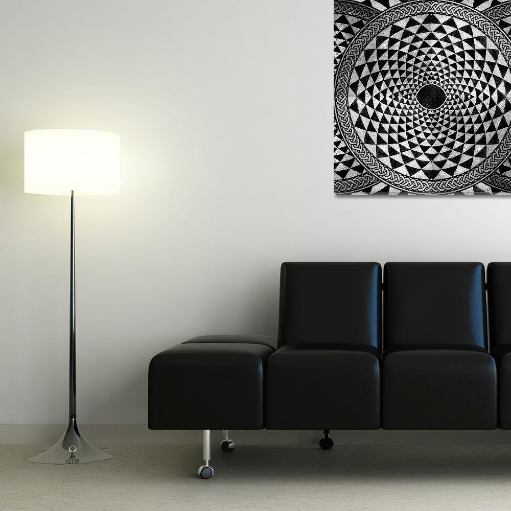 """""""Mosaic Circle Symmetric Black and White&quot  (2013) by RubinoFineArt"""