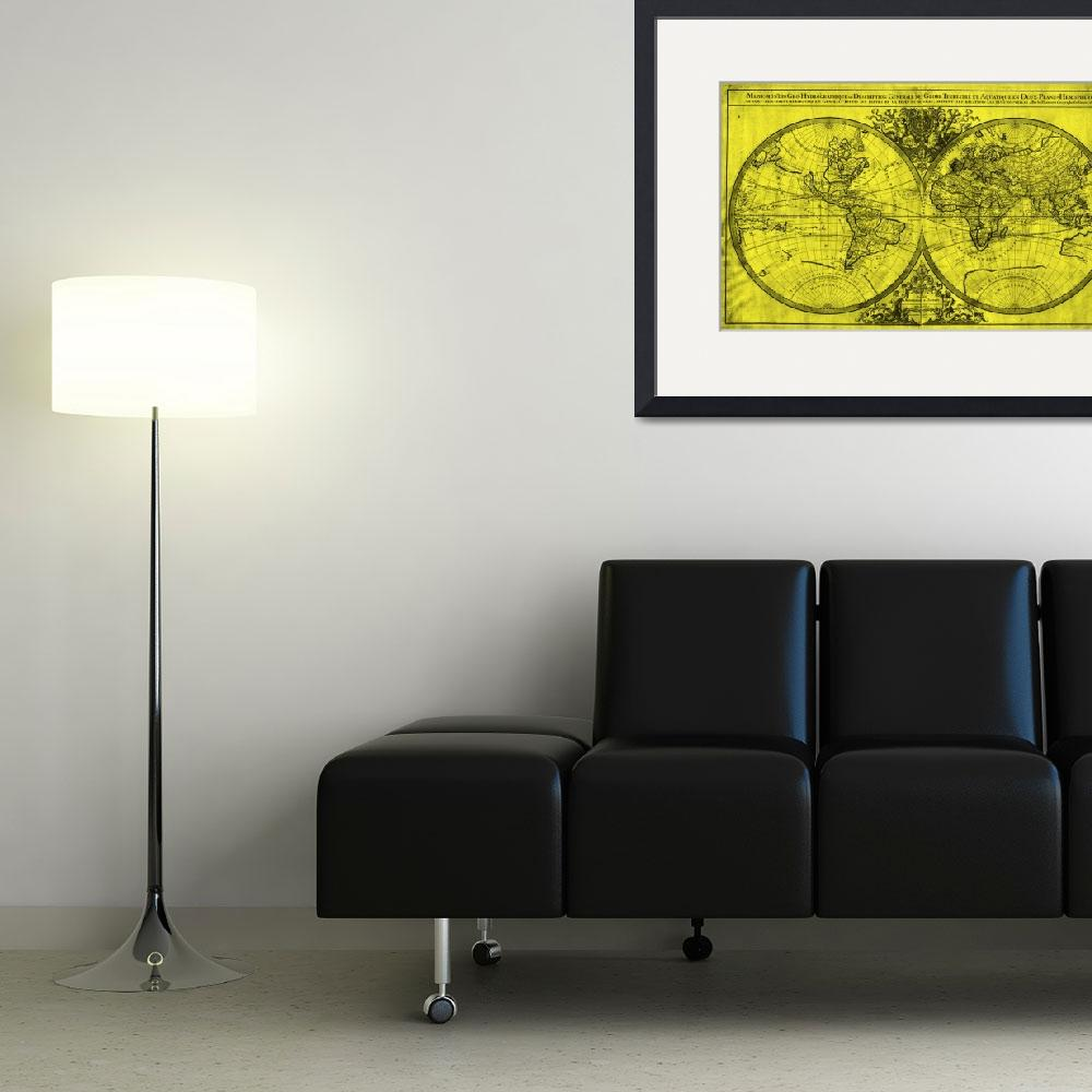 """""""World Map (1691) Yellow & Black&quot  by Alleycatshirts"""