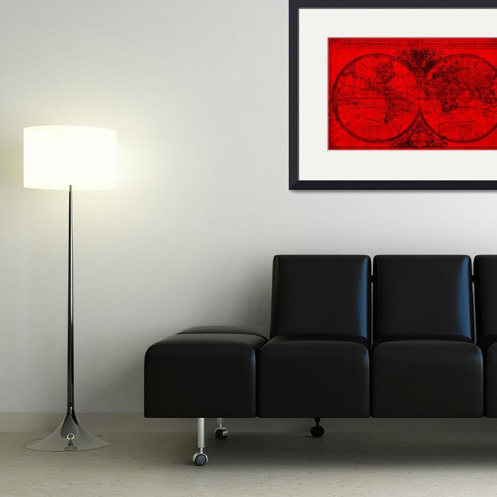 """""""World Map (1691) Red & Black&quot  by Alleycatshirts"""