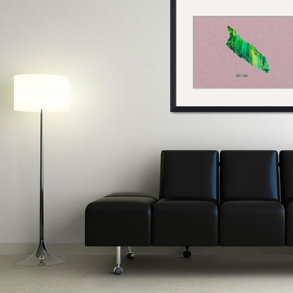 """""""Artistic Map of Aruba&quot  by Towseef"""