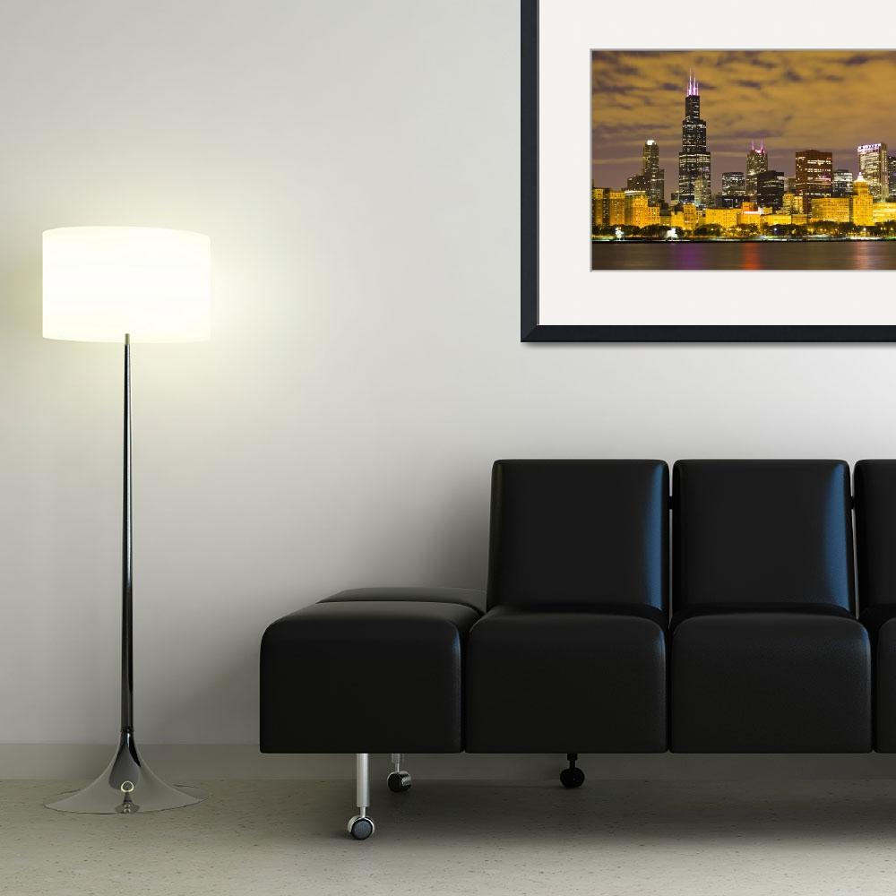 """""""Chicago Skyline at Night with Sears Willis Tower&quot  (2010) by PaulVelgos"""