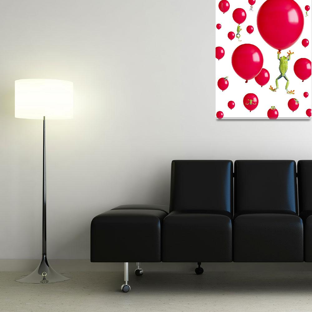"""""""Red-Eyed Treefrogs Floating On Red Balloons&quot  by DesignPics"""