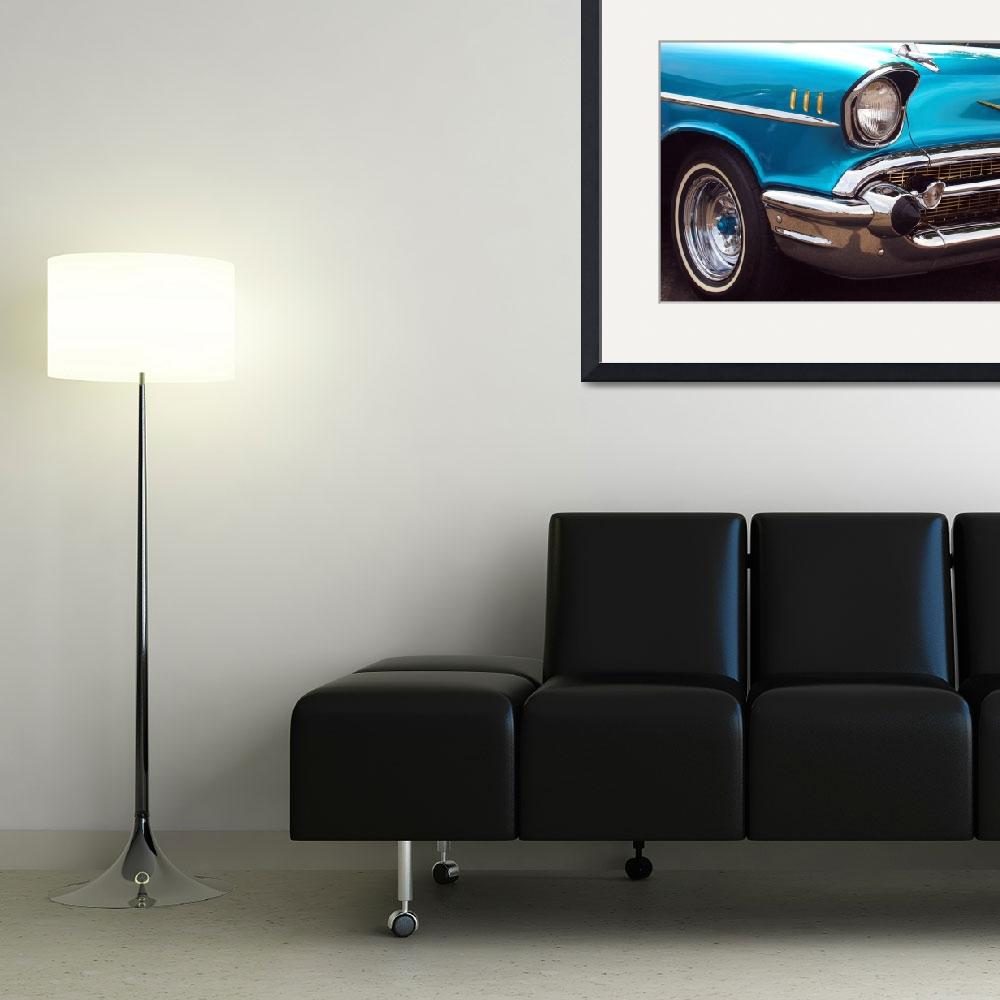 """""""Chevrolet Bel Air American Muscle Car in Blue and&quot  (2013) by scubagirlamy"""