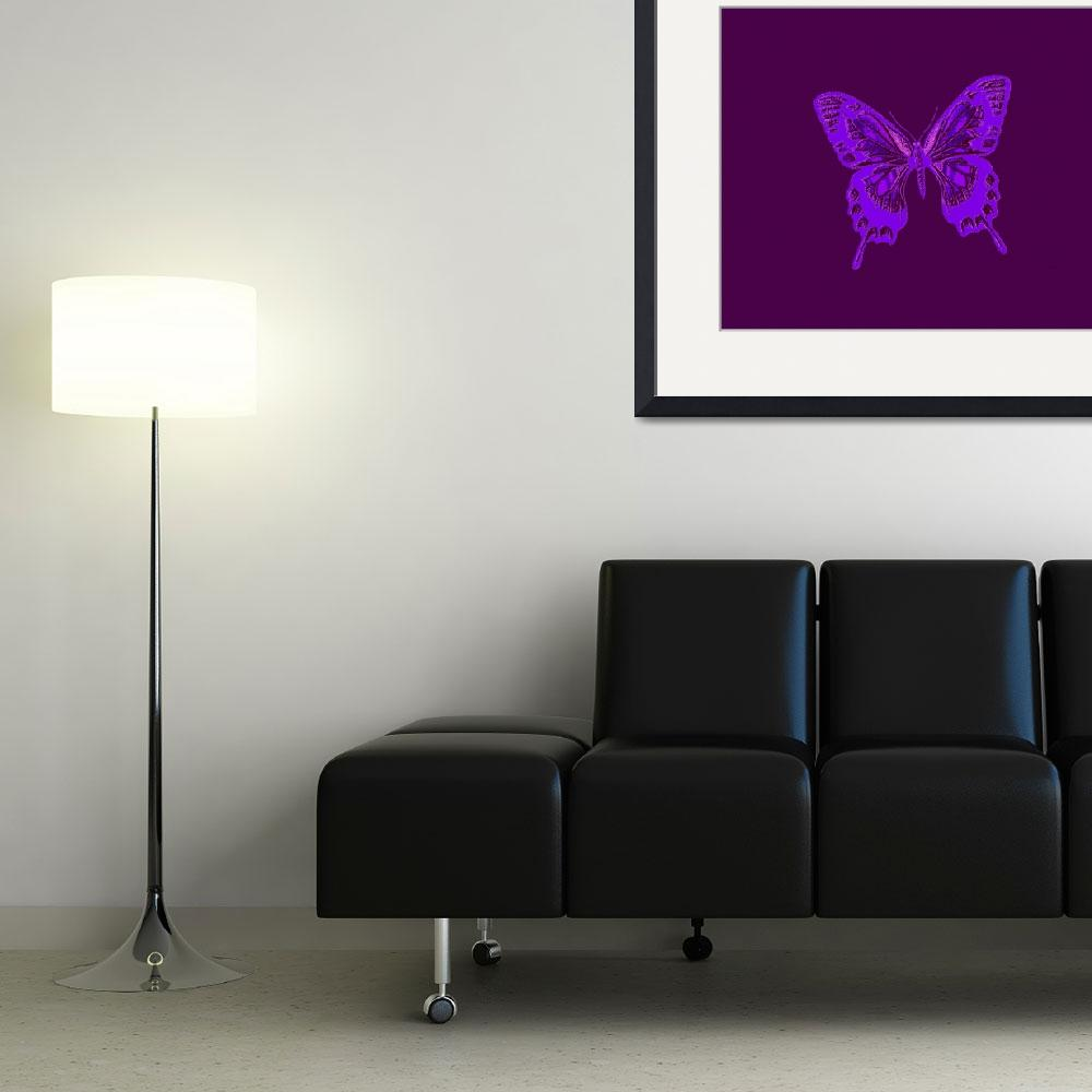 """Glowing Blue Violet Butterfly on Violet Background""  (2013) by TheNorthernTerritory"