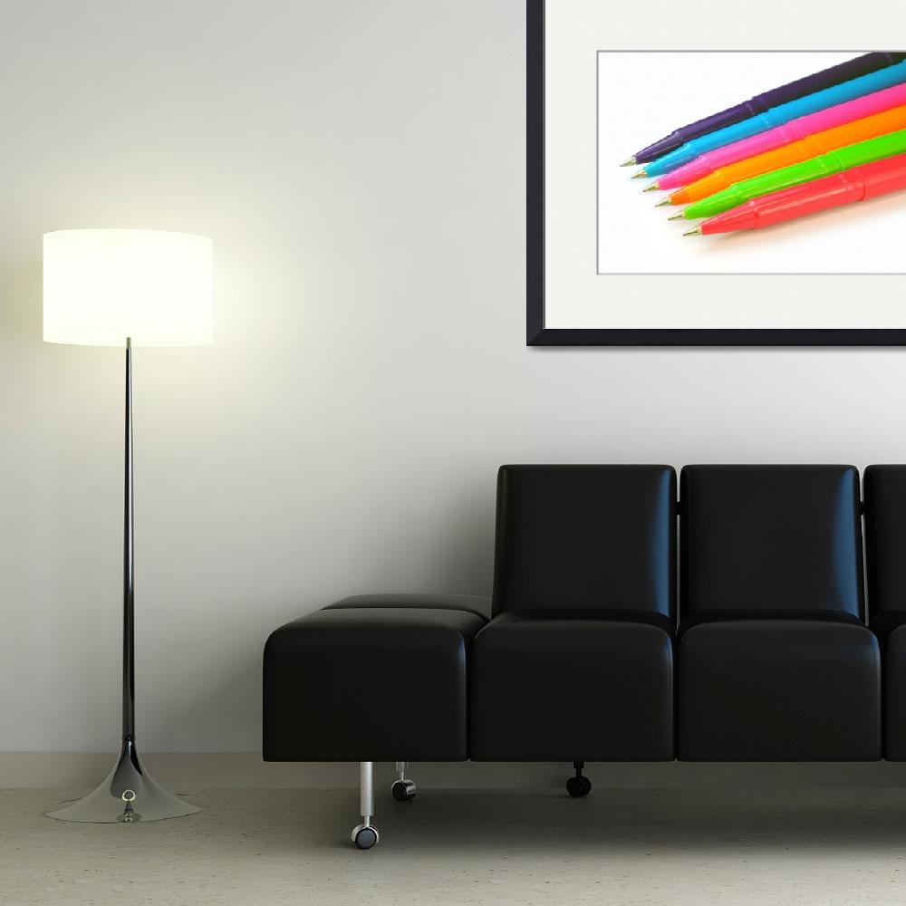 """Multicolor pens on white background.&quot  by FernandoBarozza"