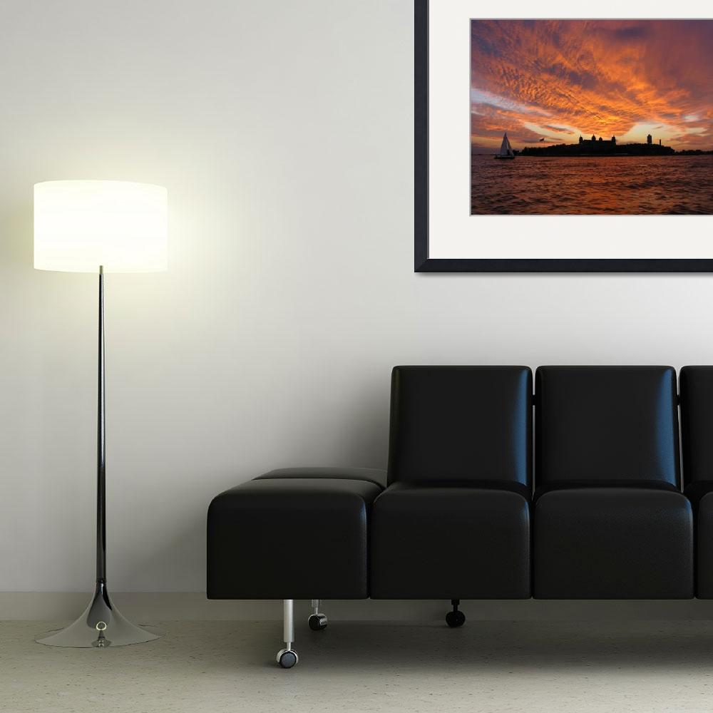 """""""Sunset with Sailboat at Ellis Island&quot  (2010) by costello"""