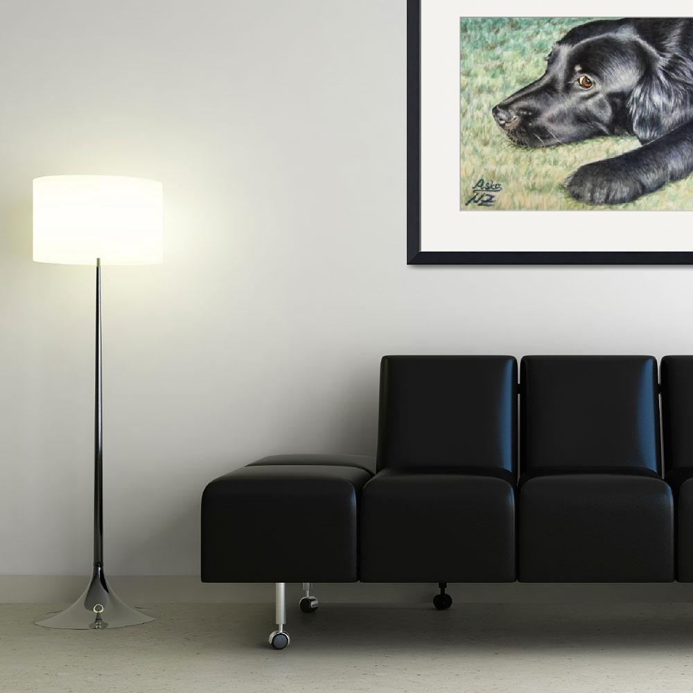 """Flat Coated Retriever&quot  (2007) by ArtsandDogs"