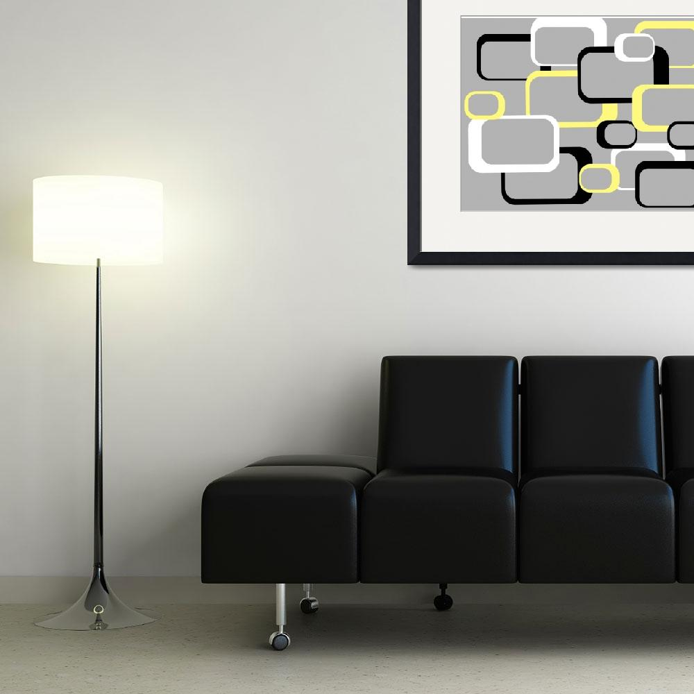 """""""Yellow Retro Squares on a Gray Background&quot  (2011) by ValeriesGallery"""