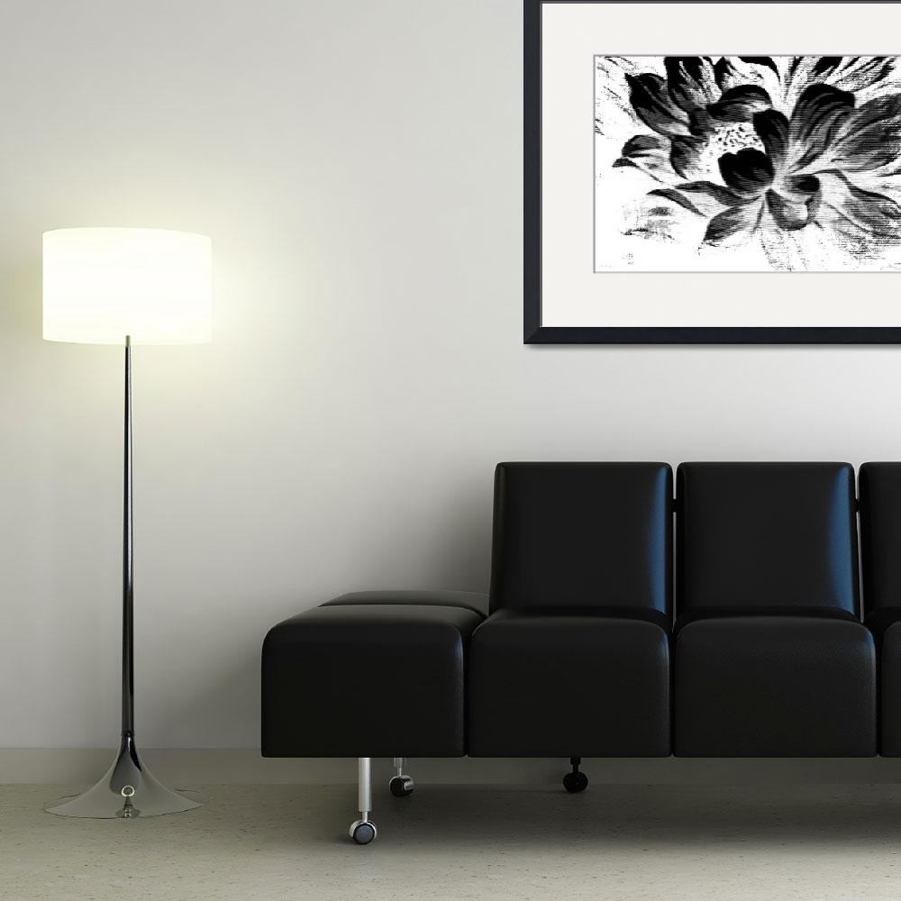 """""""Expressive Black & White Abstract Floral A8816""""  (2016) by MasArtStudio"""