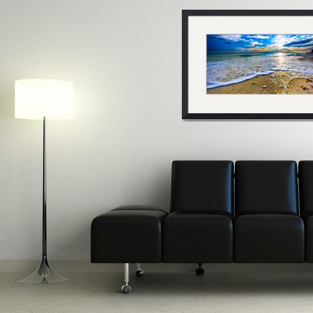 """""""Panoramic Beach Sunset Paradise Ocean Landscape&quot  (2015) by eszra"""