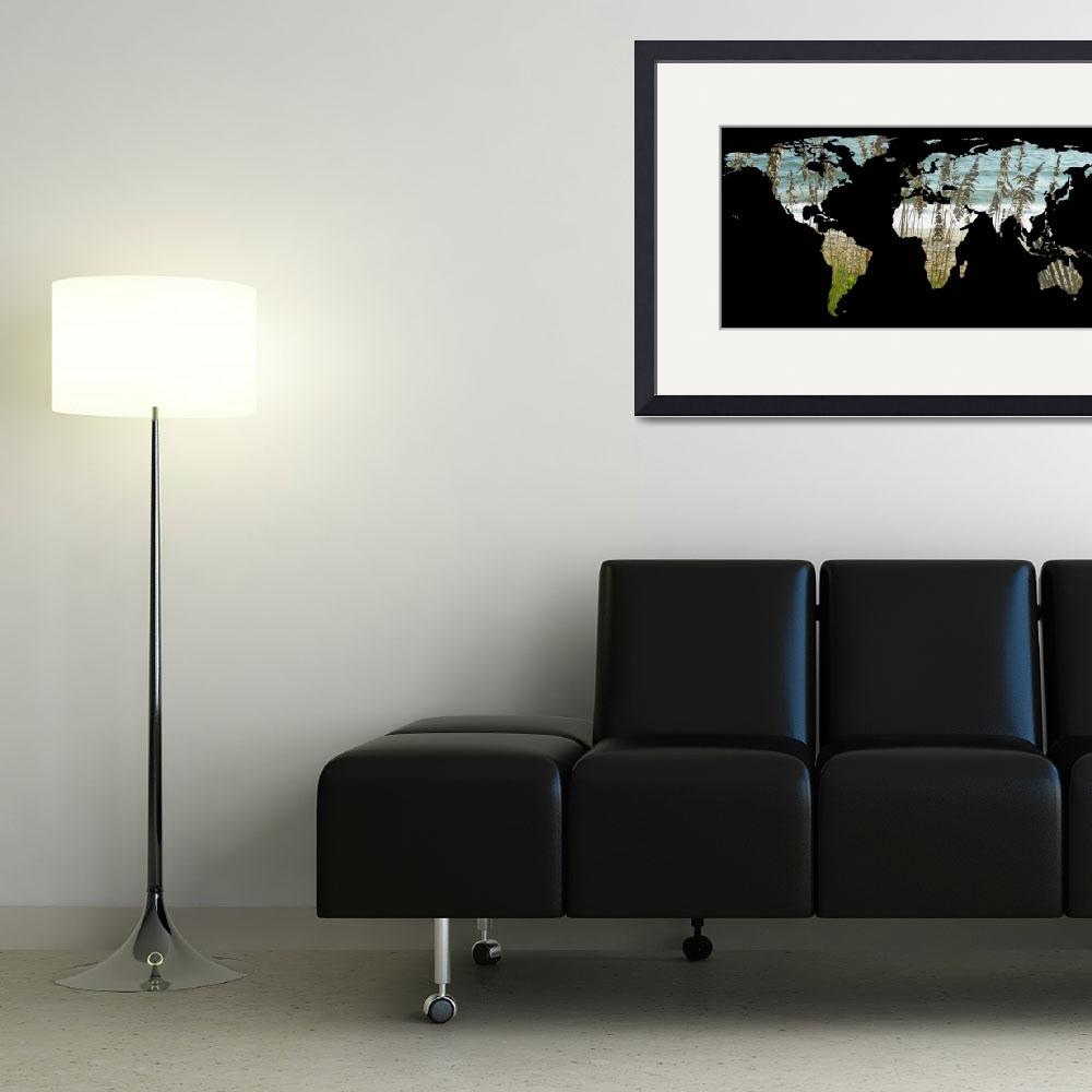 """""""World Map Silhouette - Beach Grass and Ocean&quot  by Alleycatshirts"""