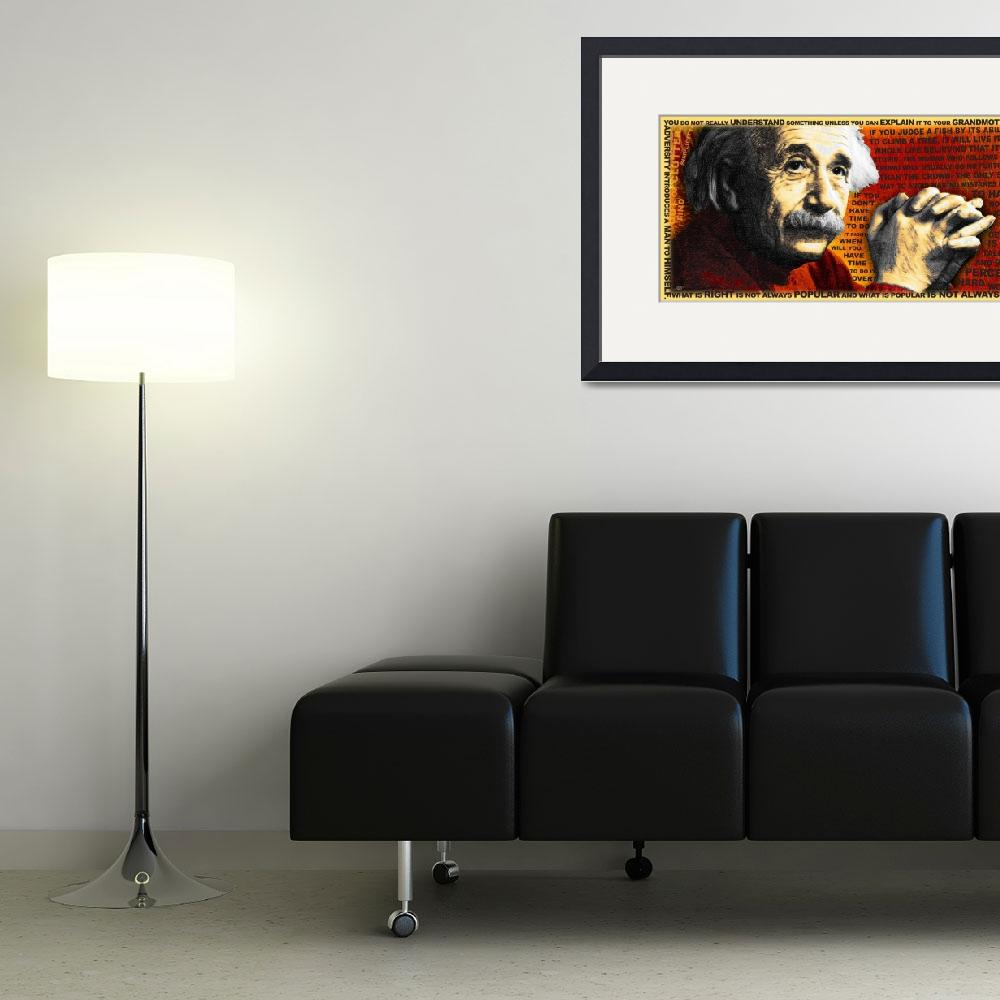 """""""Albert Einstein And Quotes Gold And Red&quot  by RubinoFineArt"""