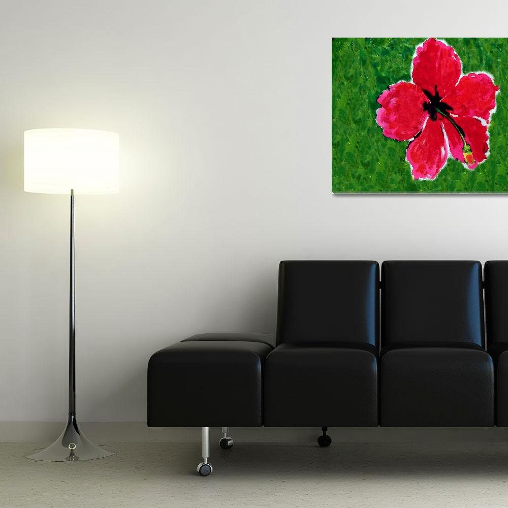"""Hibiscus Painting 8-7-15&quot  (2015) by MasArtStudio"