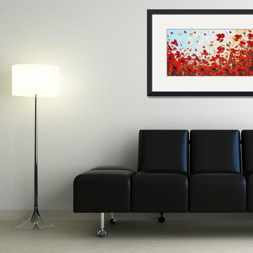 """""""""""Red Poppy Dance"""" Abstract Floral&quot  (2014) by ChristineKrainock"""