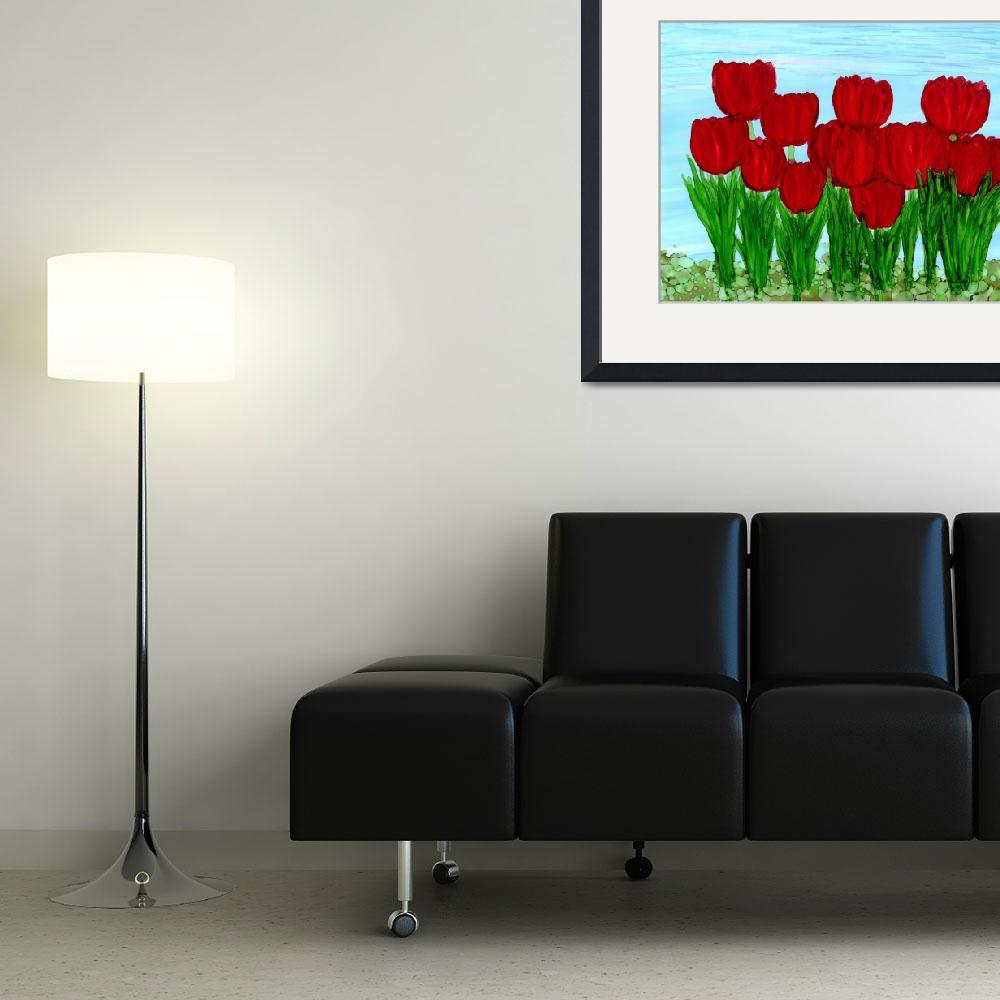 """""""Tulips in Bloom&quot  (2015) by ILoveAlcoholInk"""