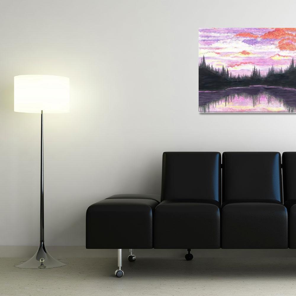 """Forest Sunset Lake&quot  (2006) by LightningHawk"