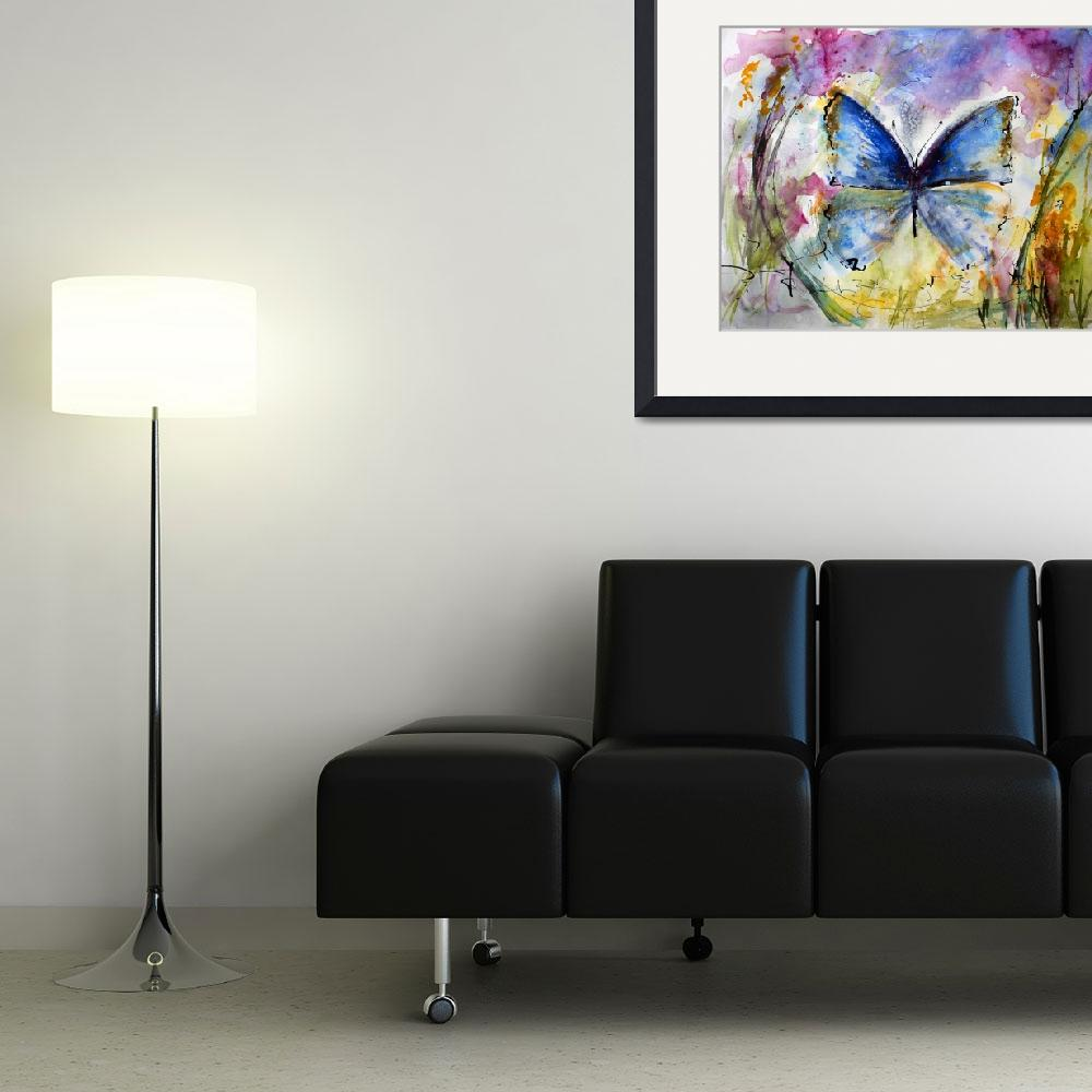 """Blue Butterfly Watercolor by Ginette""  (2014) by GinetteCallaway"