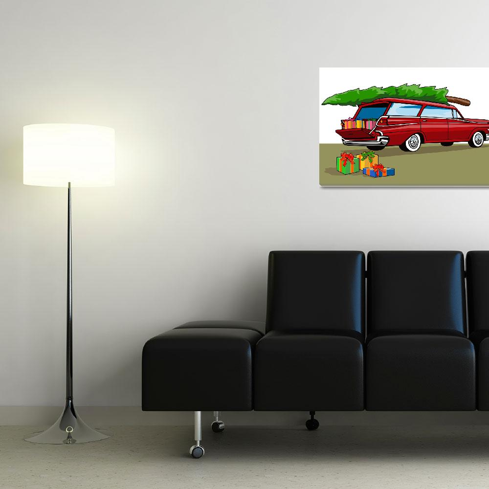 """""""Red Car Station Wagon Christmas&quot  (2013) by patrimonio"""