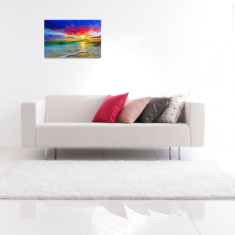 """red sunset art print green seascape blue landscape""  (2014) by eszra"