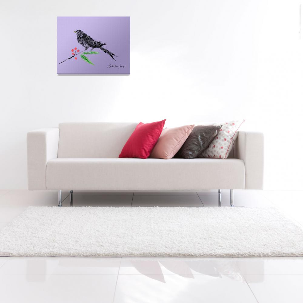 """""""Decorative Black Bird and Red Berries Lavender R&quot  (2015) by MasArtStudio"""