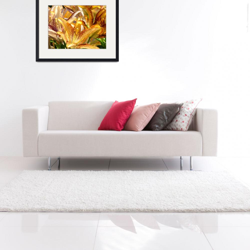 """""""OFFICE ART Golden Glowing Lilies Lily Flowers&quot  (2009) by BasleeTroutman"""