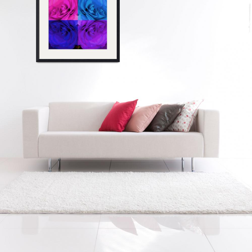 """""""Majid 4x4 Rose pink purple blue center rotated""""  (2009) by LeslieTillmann"""