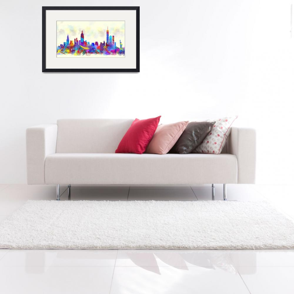 """new york city skyline watercolor print&quot  (2016) by maryedenoa"