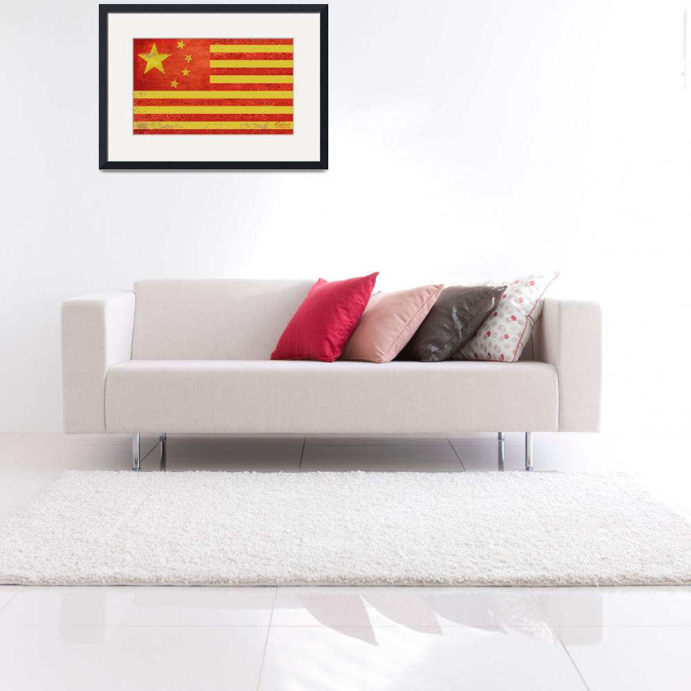 """""""Chinese American Flag&quot  by RubinoFineArt"""