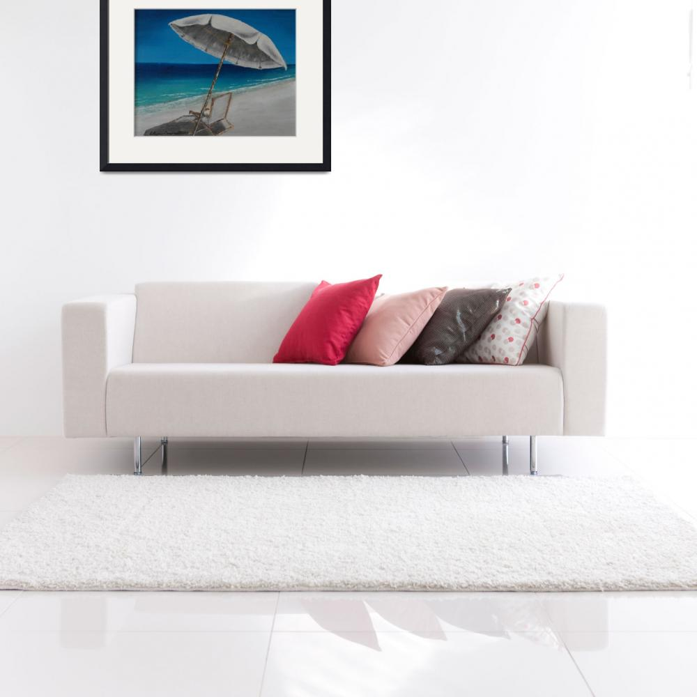 """""""White Umbrella and Lounger&quot  (2014) by waynecantrell"""
