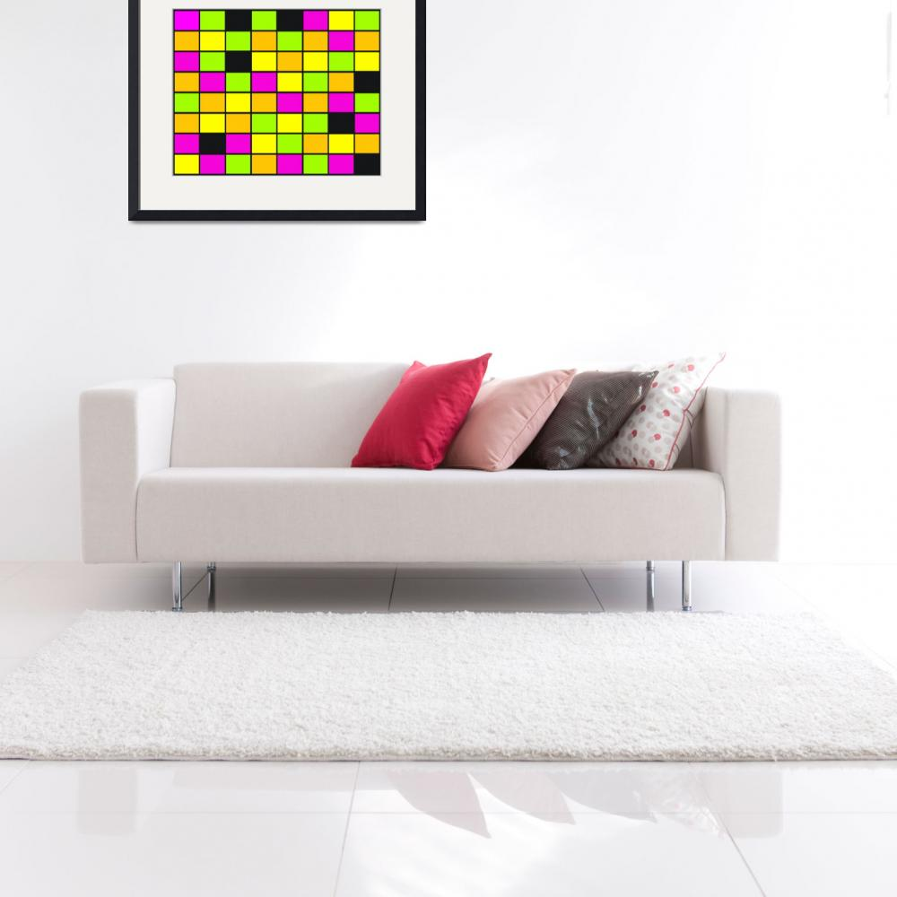 """""""Brightly Neon Colored Squares Pattern&quot  (2015) by ValeriesGallery"""