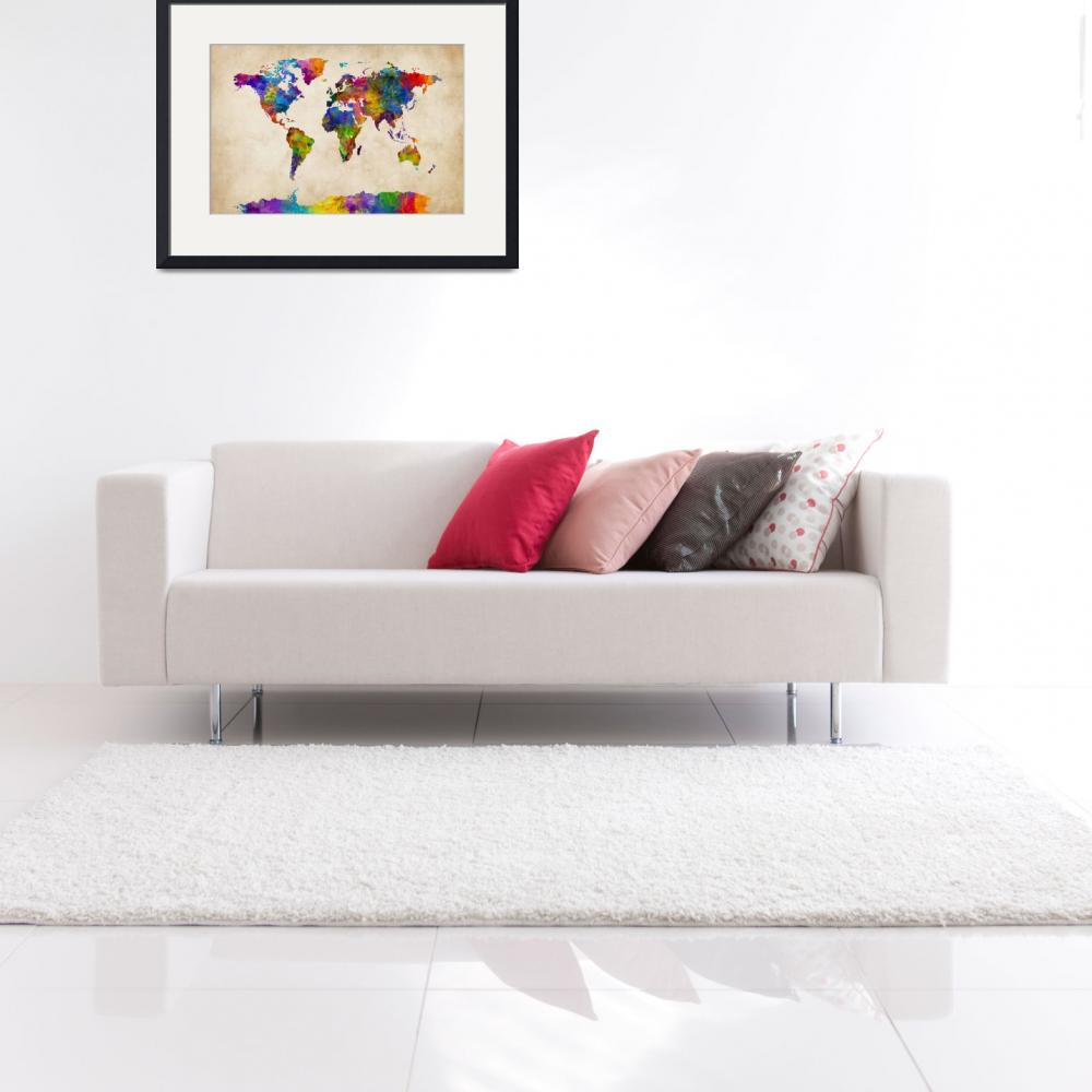 """""""Watercolor Map of the World Map&quot  (2015) by ModernArtPrints"""