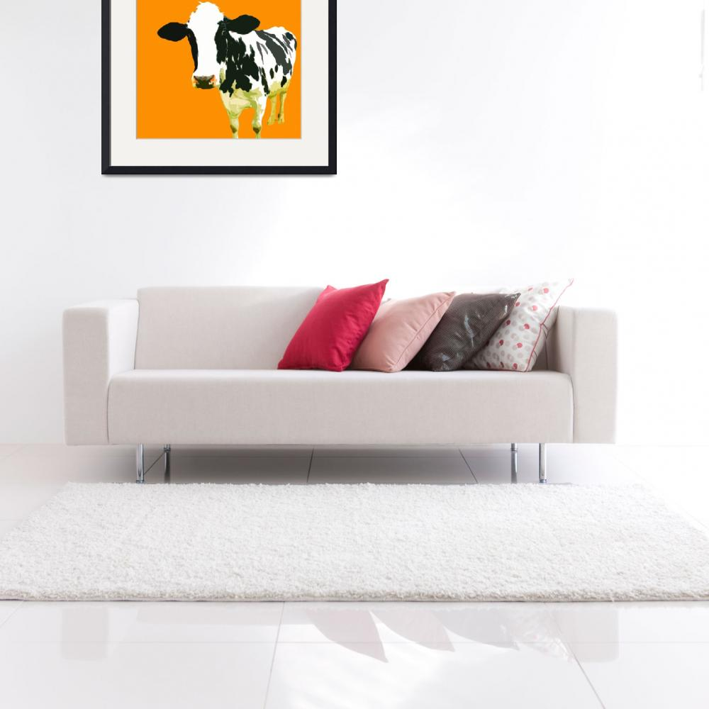 """""""Cow in Yellow World""""  (2010) by whitewallgallery"""