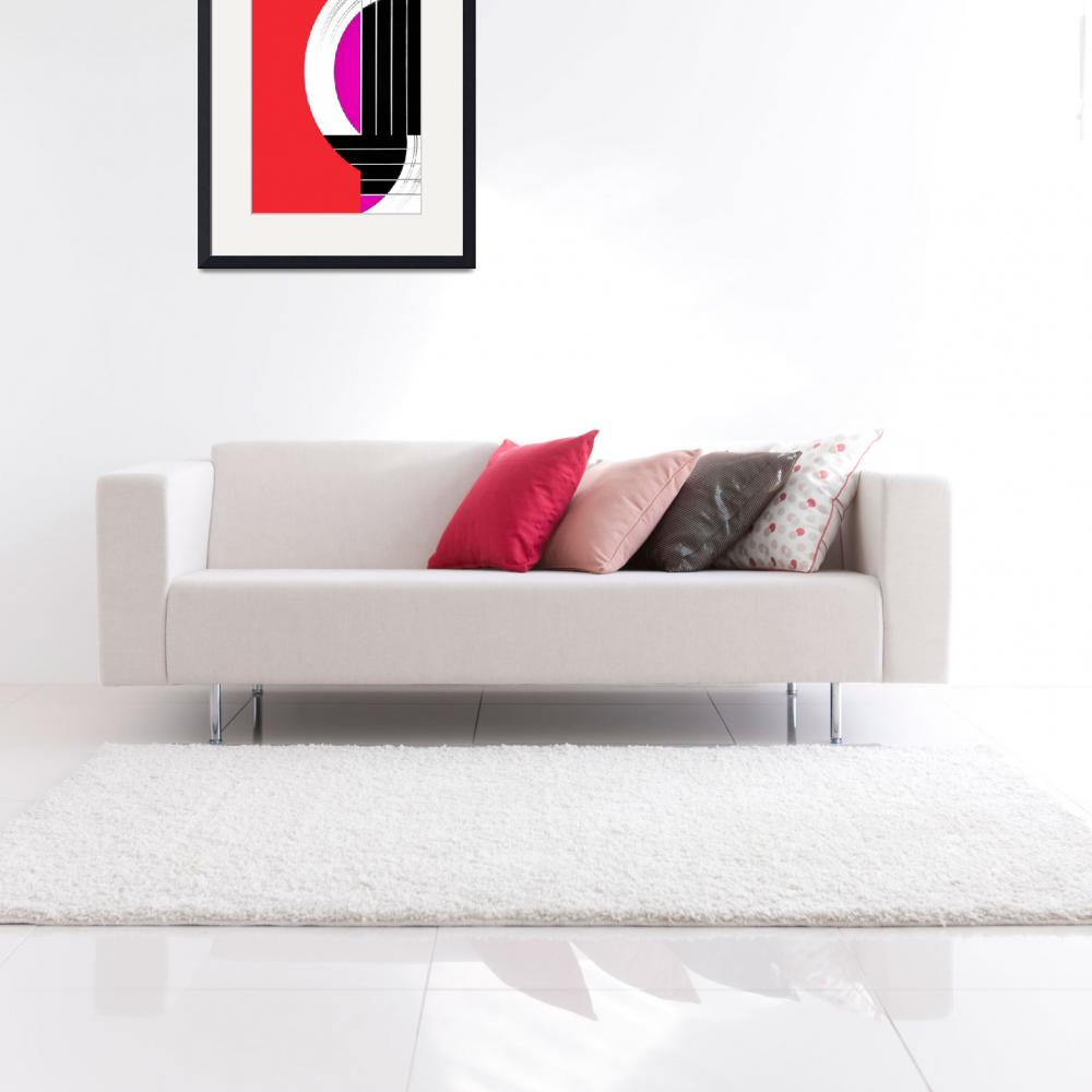 """""""Geometric Guitar Abstract in Red Pink Black White&quot  (2013) by NatalieKinnear"""