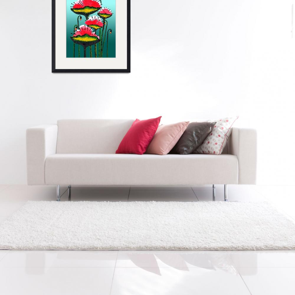 """""""Expressive Red Pink and Green Poppy Field w4e&quot  (2014) by Ricardos"""