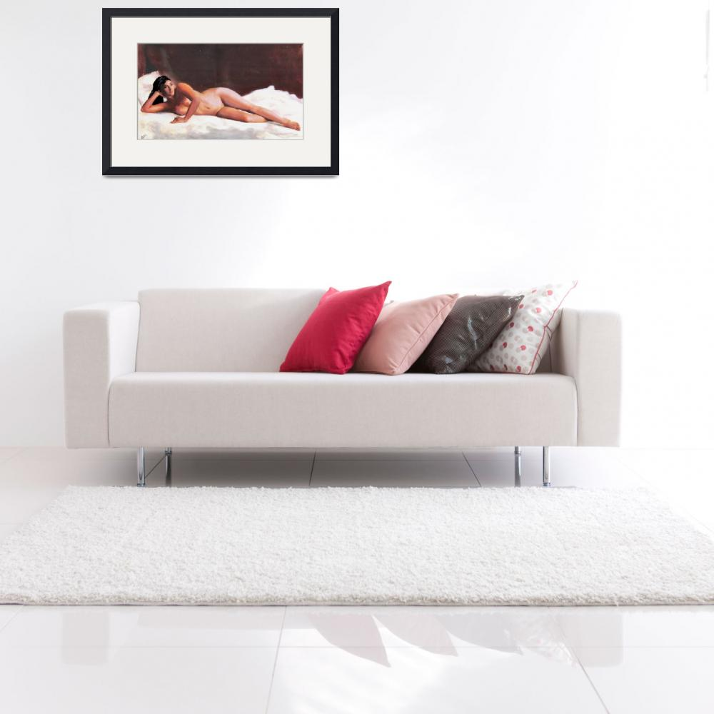 """""""ORIGINAL FINE ART FEMALE NUDE RECLINING ON WHITE&quot  by grl"""