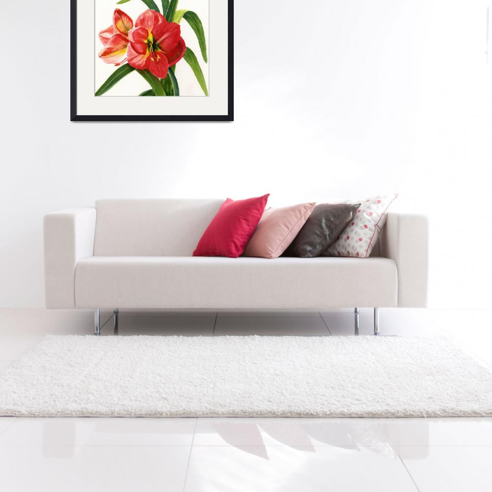 """Red Orange Amaryllis Square Design&quot  (2012) by Pacific-NW-Watercolors"