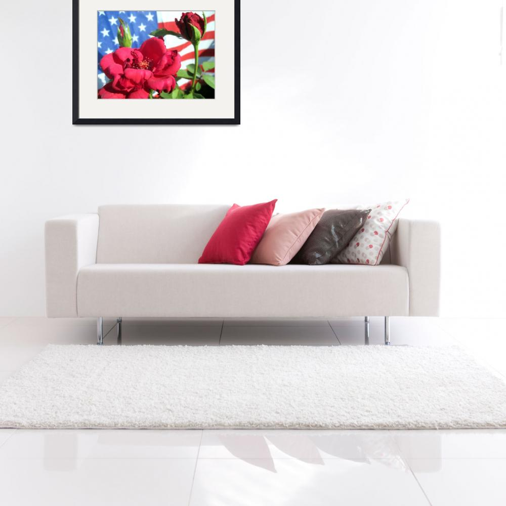 """Patriotic Red Rose&quot  (2012) by johnscanvassprints"