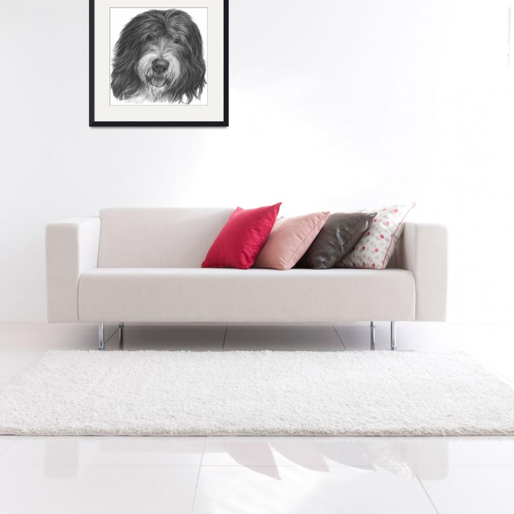 """""""Quincy, Old English Sheepdog&quot  (2008) by sdonley"""