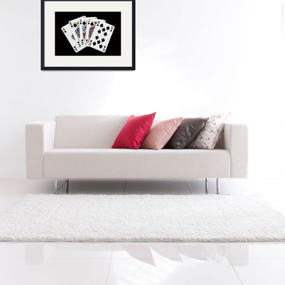"""""""Playing Cards Royal Flush on Black Background""""  (2012) by NatalieKinnear"""