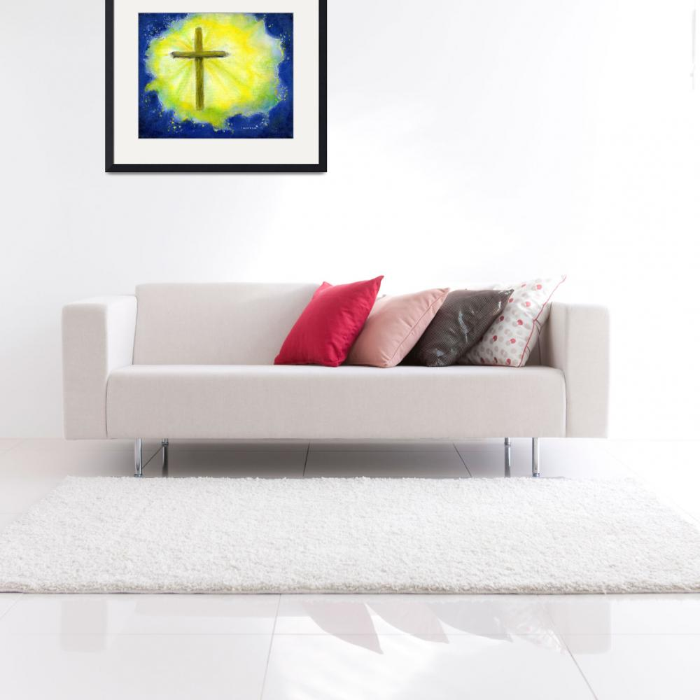 """""""Cross in Brilliant Yellow and Blue&quot  (2004) by Lenora"""