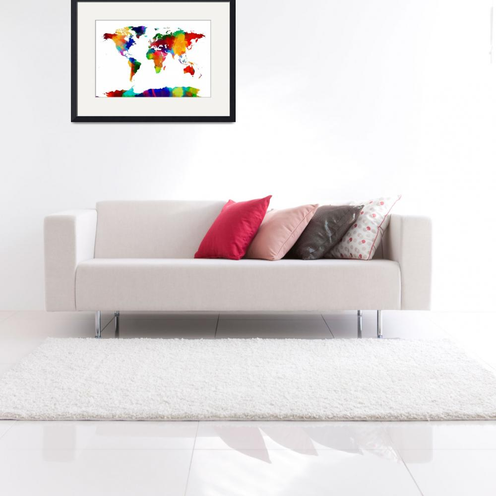 """Map of the World Map Painting&quot  (2012) by ModernArtPrints"