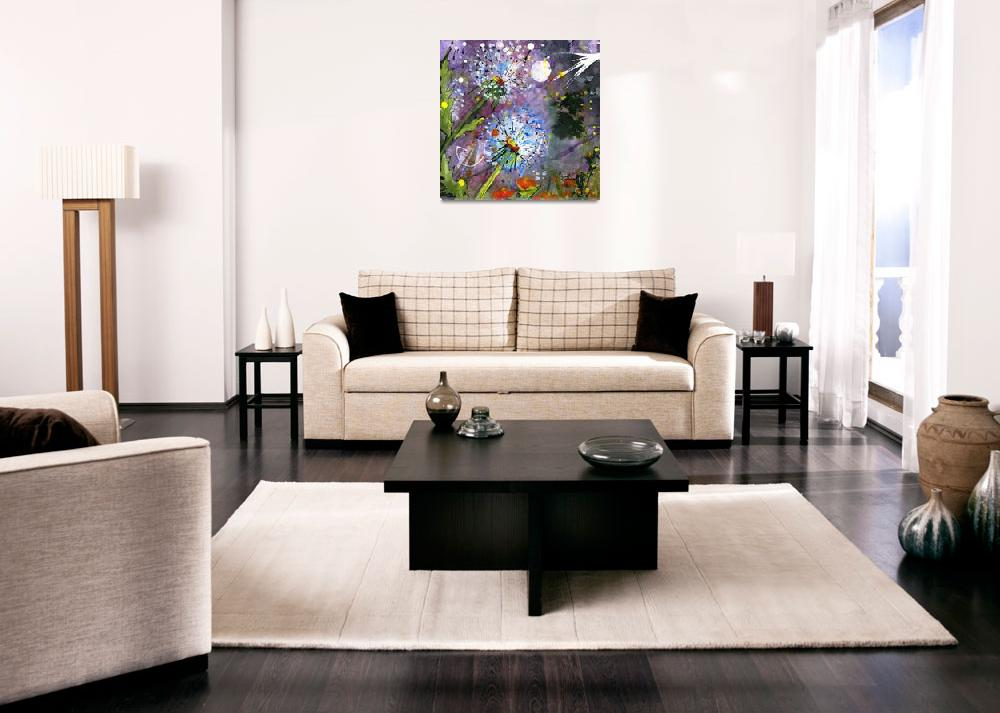 """""""Midnight Sky Dandelions Square""""  (2015) by GinetteCallaway"""
