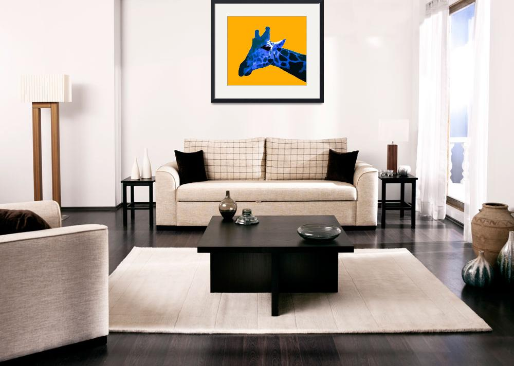 """Giraffe in Yellow World""  (2009) by whitewallgallery"
