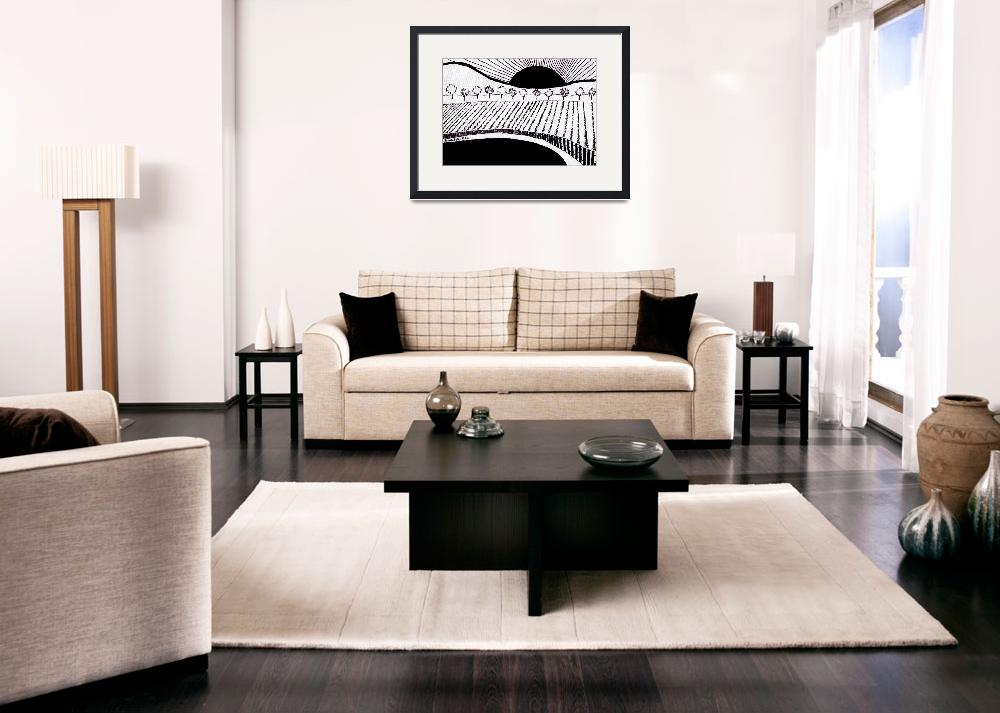 """""""Zen Sumi Rising Sun Black Ink on White Canvas by R""""  (2011) by Ricardos"""