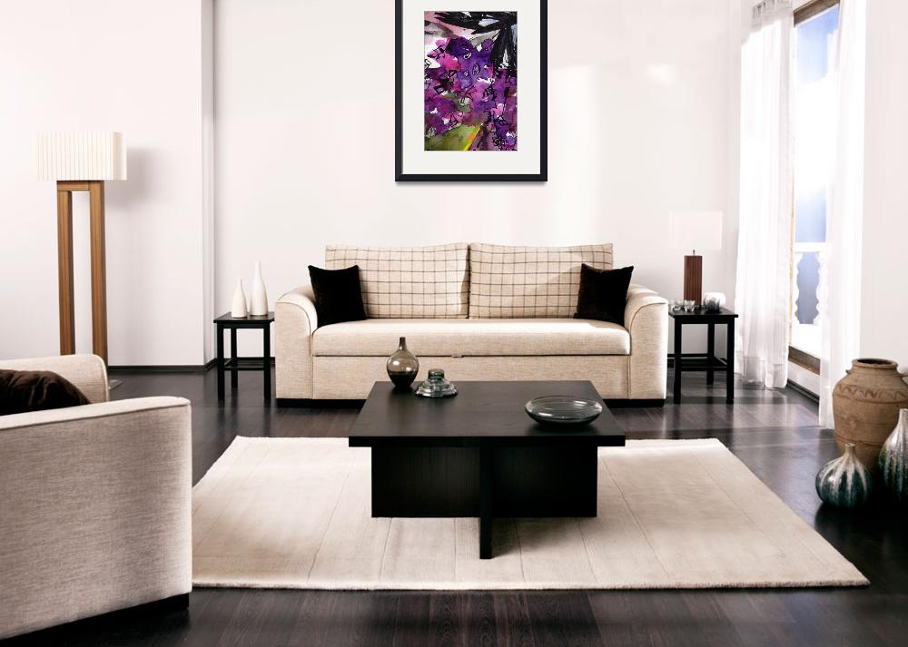 """Abstract Floral Lilac and Black 3&quot  (2015) by GinetteCallaway"