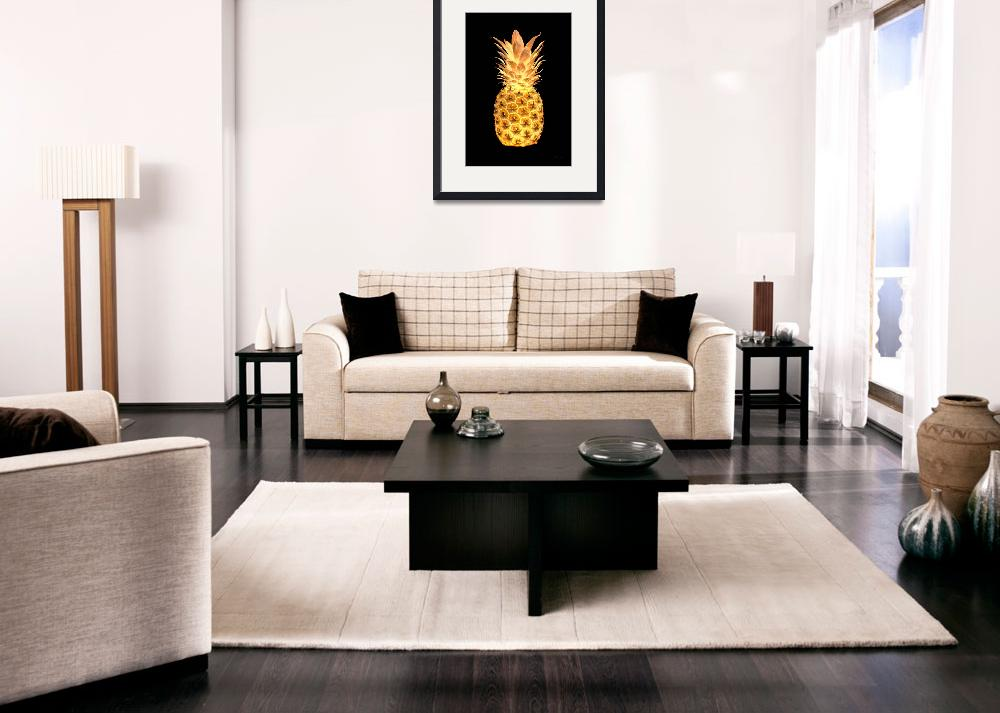 """""""14G Artistic Glowing Pineapple Digital Art Gold&quot  (2016) by Ricardos"""