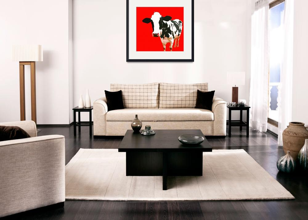 """""""Cow in Red World""""  (2010) by whitewallgallery"""