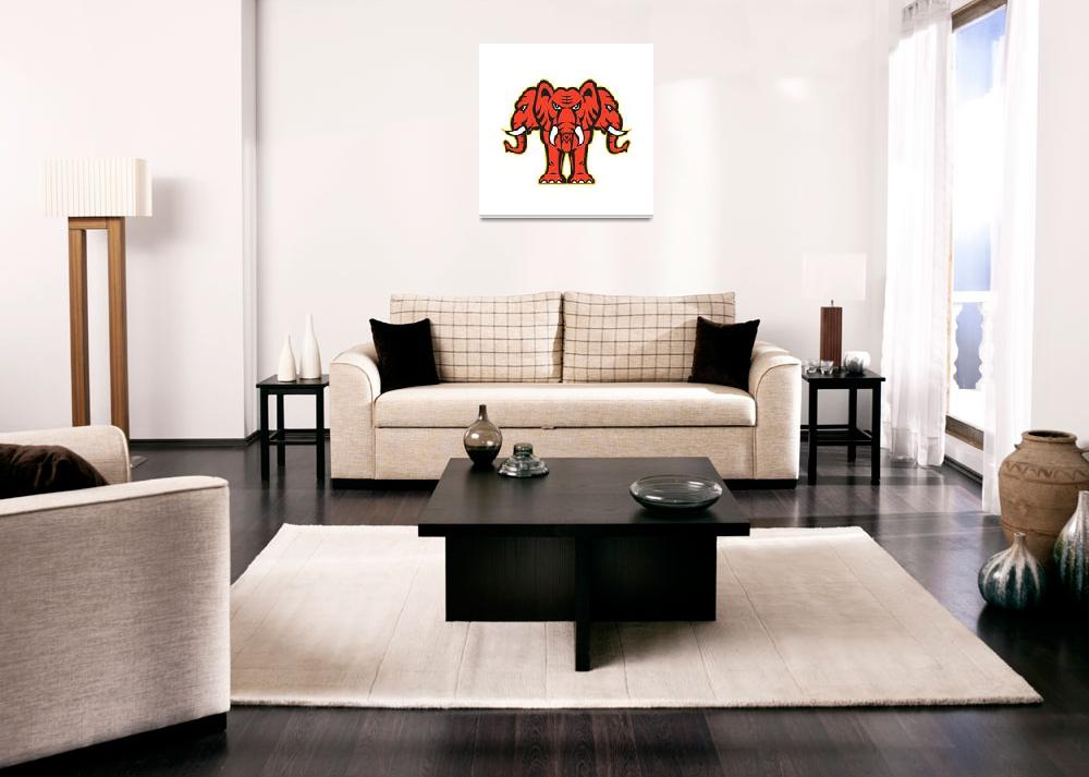 """""""Three Headed Elephant Standing Retro&quot  (2016) by patrimonio"""