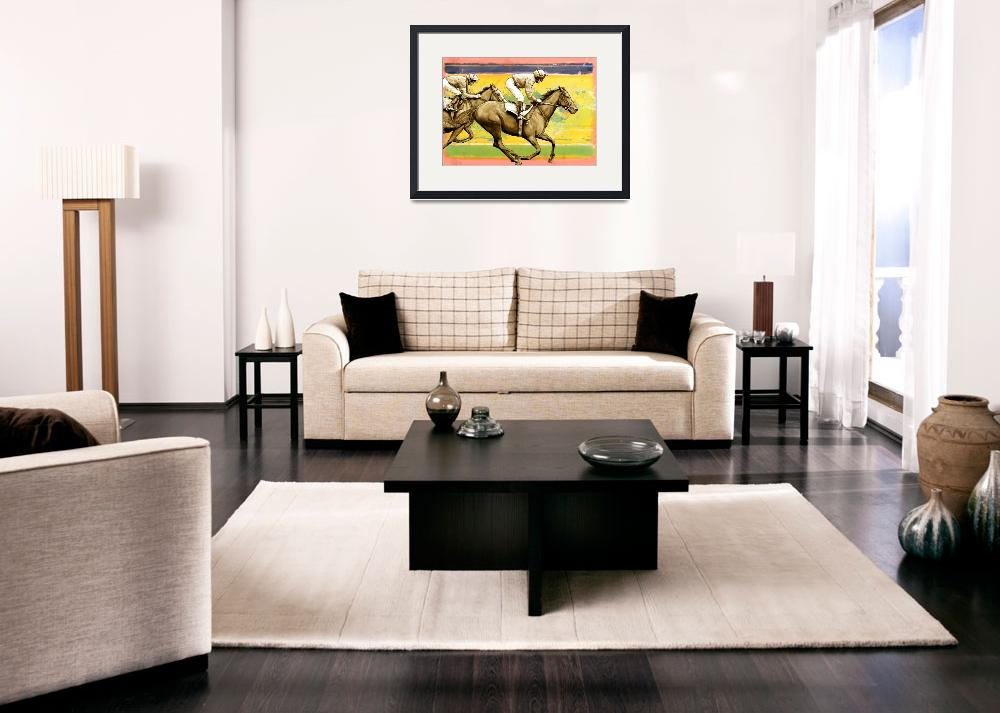 """""""Horse racing stylised painting art poster""""  (2013) by visualharbour"""