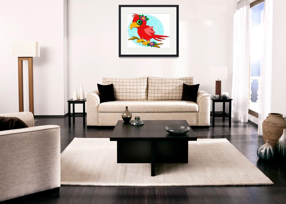 """""""Red Parrot with a Flower&quot  (2012) by theblueplanet"""